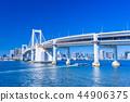 从东京Daiba公园的彩虹桥 44906375