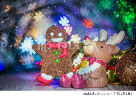 聖誕節 薑餅人 聖誕樹 裝飾 光暈背景 クリスマス 暈け gingerbread sparkle  44920163