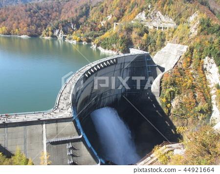 Water discharge of the Kurobe dam in the autumn 44921664