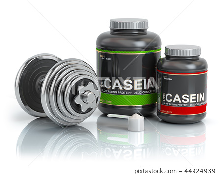 Casein protein with scoop and dumbbell 44924939