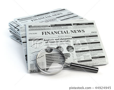 Financial news newspaper isolated on white 44924945