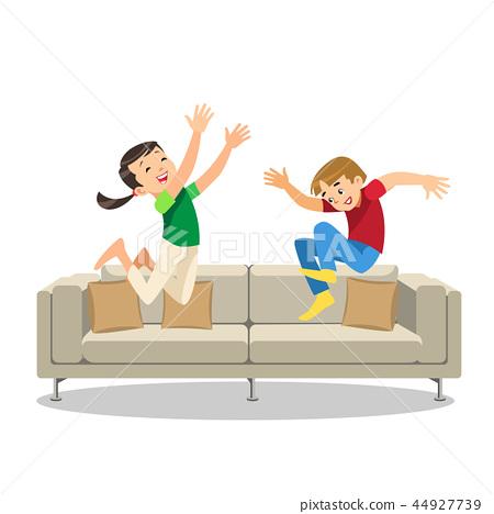 Happy Boy and Girl Jumping on Sofa Cartoon Vector 44927739