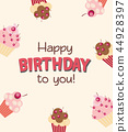Happy Birthday Card Baner Background  with Cake. Vector Illustration 44928397