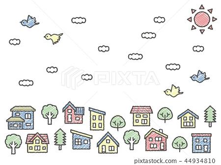 变形的房子和一排树(天空,云彩和鸟类)手绘风线绘图涂鸦风格色 44934810