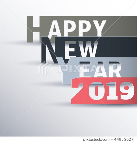 Happy new 2019 year. Greetings card.  44935027