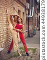 beautiful modern ballet couple dancing in summer outdoors 44938179