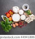 Italian food background, with tomatoes, basil, mus 44941886