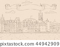 Old city of Stockholm, lake view. Hand drawn sketch. Outline drawing on beige background 44942909