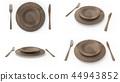 나무 접시와 포크와 나이프 4 앵글 4 패턴 세트 44943852