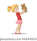 Girl is Playing With a Teddy Bear 44944836