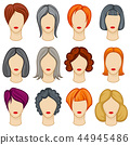 Womens cartoon hair vector hairstyles collection 44945486