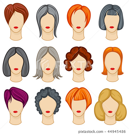 Womens Cartoon Hair Vector Hairstyles Collection Stock