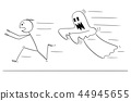 Cartoon of Frightened Man Running Away From Ghost 44945655