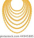 Golden metallic chain necklaces vector set 44945885
