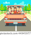 Happy family traveling by car driving on road. Vector illustration 44945977