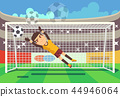 Soccer, football goalkeeper catching ball in goal vector illustration 44946064