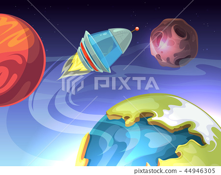 Space vector cartoon comic background with spaceship and planets 44946305