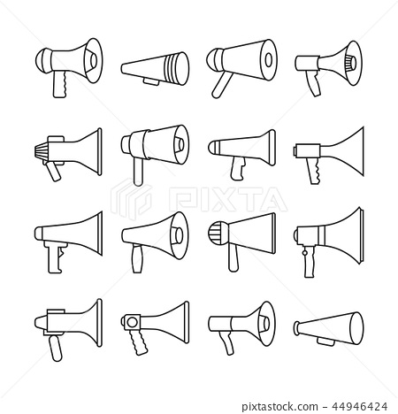 megaphone announcement loudspeaker thin line stock illustration 44946424 pixta pixta