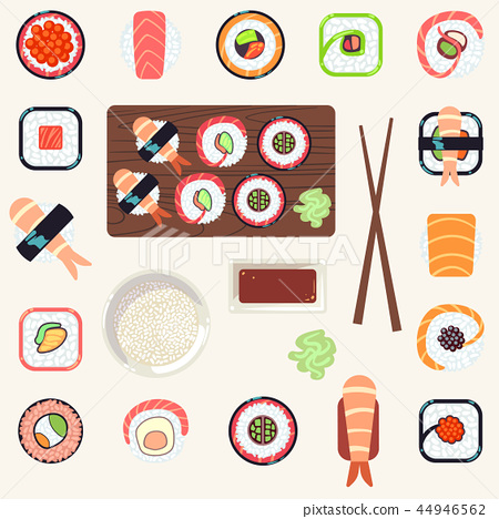 Japanese food vector illustration set 44946562