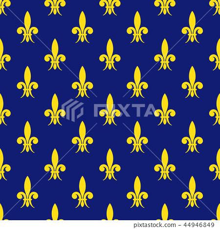 Golden fleur de lis royal lily vector seamless pattern 44946849