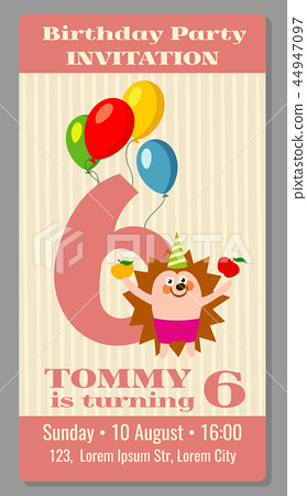 Kids birthday party invitation card vector... - Stock Illustration ...