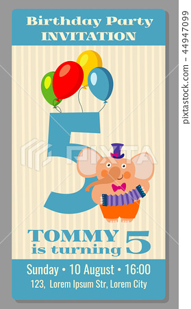 Kids birthday party invitation card vector... - Stock Illustration ...
