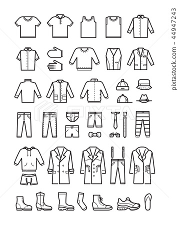 Mens clothing, male fashion line vector icons set 44947243