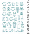 Mens and womens clothes thin line vector icons 44947245