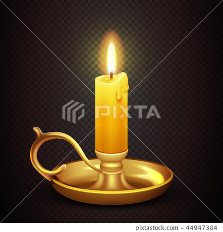 Realistic burning romantic candle isolated on transparent plaid background vector illustration 44947384