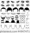 Man face eyes and noses, mustaches with glasses, hats or lips, hairstyle 44947471