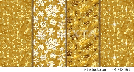 Golden pattern seamless backgrounds four in one set 44948667