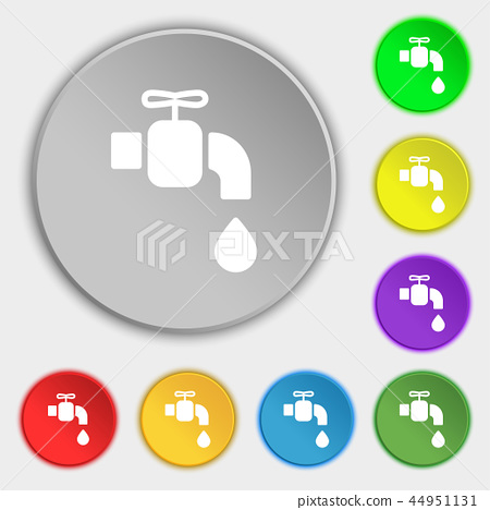 faucet icon sign. Symbol on eight flat buttons. Ve 44951131