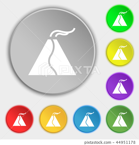active erupting volcano icon sign. Symbol on eight 44951178
