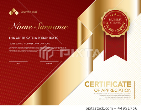 diploma certificate template red and gold color. 44951756