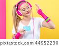 woman, cassette, tape 44952230
