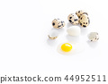 boiled and broken quail egg 44952511
