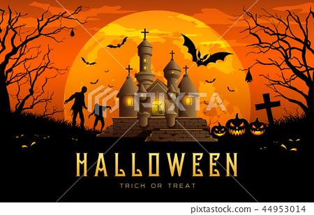 Happy Halloween banner castle orange background 44953014