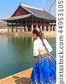 경복궁 경회루 한복을 입은 여성의 뒷모습 44953105