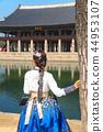 경복궁 경회루 한복을 입은 여성의 뒷모습 44953107