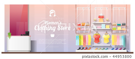 Interior background of modern women clothing store 44953800