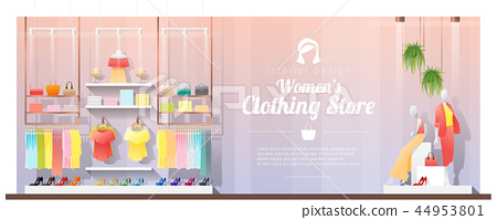 Interior background of modern women clothing store 44953801