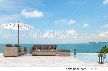 Outdoor pool terrace living area 3d render 44953865