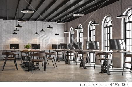 Industrial loft style office 3d render 44953868
