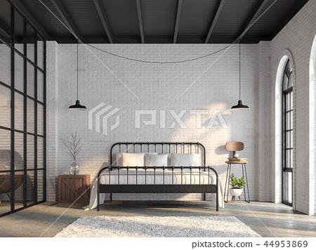 Industrial loft bedroom 3d render 44953869
