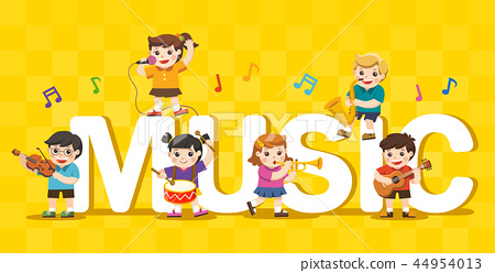 Music concept of children group. 44954013