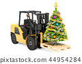 Forklift truck with Christmas tree. Gift delivery 44954284