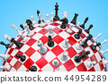 Checkered sphere, chess board with chess pieces 44954289