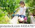 Adorable little girl wearing straw hat playing with her toy garden tools in a greenhouse 44954787