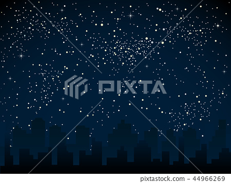 Realistic Starry Sky with Blue Glow Shining Stars. 44966269