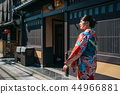 young girl wearing kimono for first time 44966881